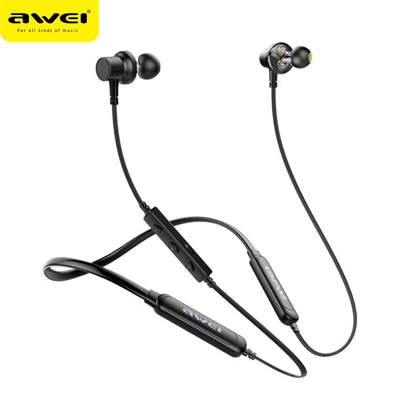 AWEI G20BLS Magnetic Wireless Headphone Neckband Bluetooth Earphone Headset Earpiece Dual Battery Earphone Casque Auriculares awei x650bl bluetooth earphone wireless headphone neckband headset earpiece for phone casque auriculares kulakl k fone de ouvido