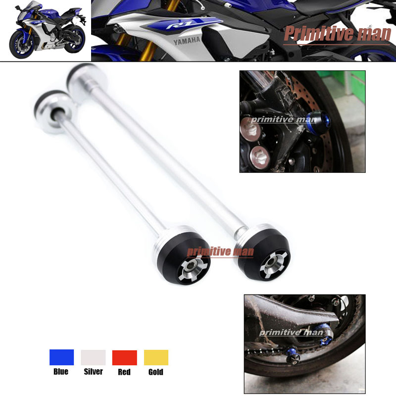ФОТО For YAMAHA YZF R1 YZFR1 YZF-R1 2007-2008 Motorcycle  Front & Rear Axle Fork Crash Sliders Wheel Protector Silver