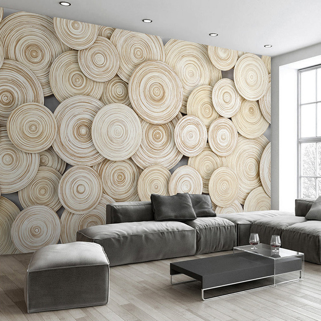 Beibehang Nach Wandbild Tapete 3D Moderne Design Holz Textur ...