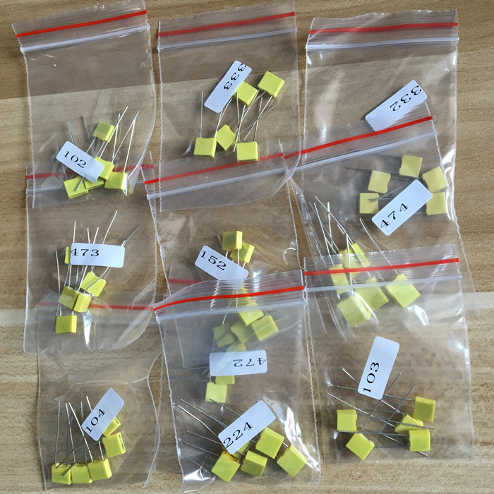 Correction Capacitor Kit Set Pack Diy 100V 102J 152J 332J 472J 103J 333J 473J 104J 224J 474J Package Kit 10 Kinds * 5PCS=50 PCS