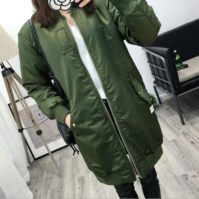 Novo 2017 Mulheres Jaquetas de Outono Inverno Da Moda Exército Verde Casacos Femininos Casuais Longo Outerwear Baseball Casacos Chaquetas Mujer