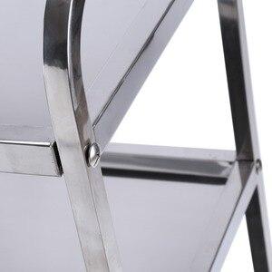 Image 4 - الفولاذ المقاوم للصدأ كبير 3 الطبقة المطاعم فندق مطعم عربة تسوق تخدم المقاصة مع أدوات يدوية الفرامل تحمل 100 كجم