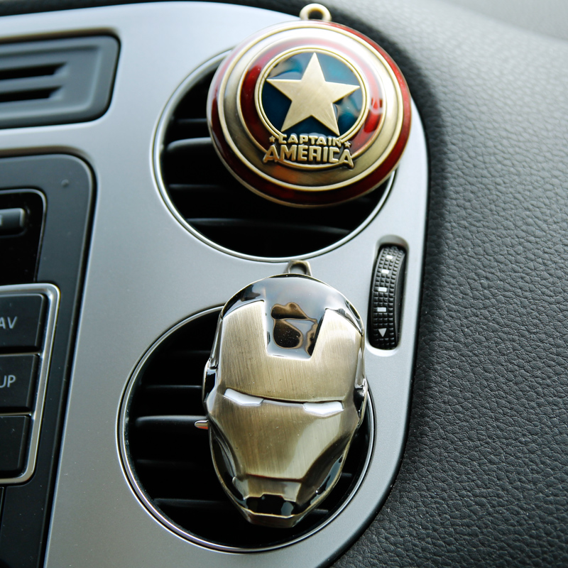 Car Styling Air Freshener Clip Air Condition Vent Perfume For The Avengers Spiderman Ironman Captain Fans FREE 2 PERFUME