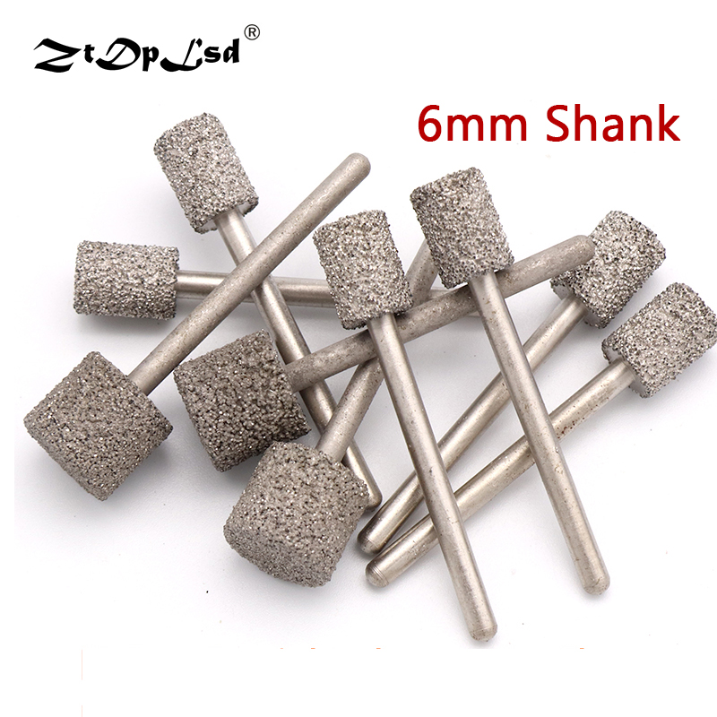 1PCS 3MM Shank Grit 46 Brazed Diamond Grinding Head Cylindrical For Jade Peeling Flat Jaw Stone Engraving Carving Tools Burrs