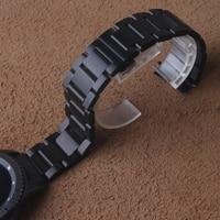 Saatler'ten Saat kayışları'de 18mm 20mm 22mm 24mm Kordonlu Saat kavisli uçları kol saati kayışı gümüş katlanır emniyet toka Izle bilezik erkekler saat promosyon