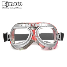 BJMOTO Motorcycle Goggles Vintage Sport Cycling Glasses Helmet Goggle Pilot Aviator Motocross Scooter Riding Bike Racing Eyewear