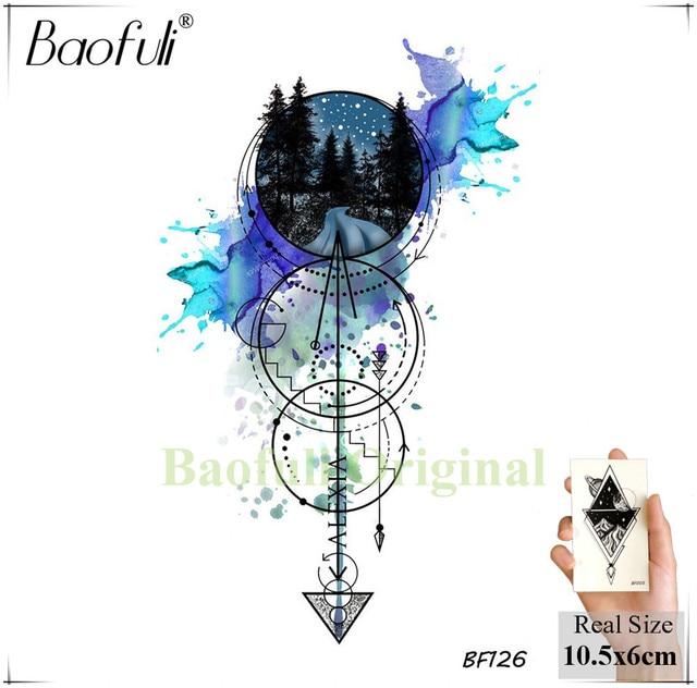 Baofuli Waterproof Temporary Sticker Geometric Planet Jellyfish Tattoo Black Triangle Tattoos Body Arm Men Fake Tatoos Chains 1