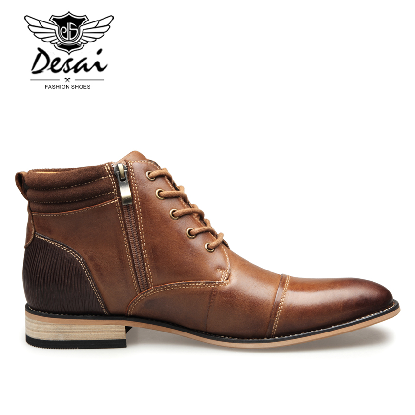DESAI High Boots Men's Fashion Casual High Shoes Winter Top Quality Genuine Leather  Boots Large Size Shoes for Male
