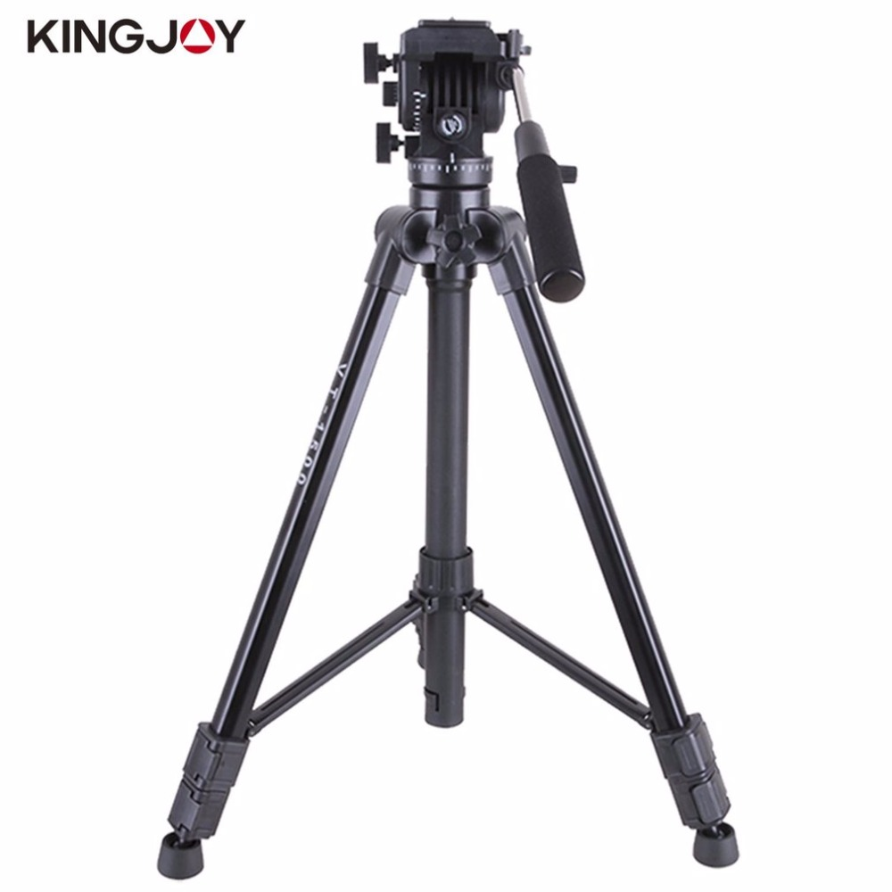 Kingjoy VT-1500 Video Camera Tripod 3 Section Flip Lock Video Tripod With Fluid Damping Head For Camcorder weifeng wf718 video tripod with fluid head 1880mm 3 section