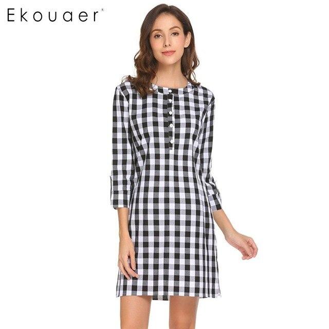 dd8b555530 Ekouaer Women Casual Nightgown 3 4 Sleeve Nightshirt Plaid Nightdress Sleep  Dress Lounge Sleepwear Female Nightwear Home Clothes