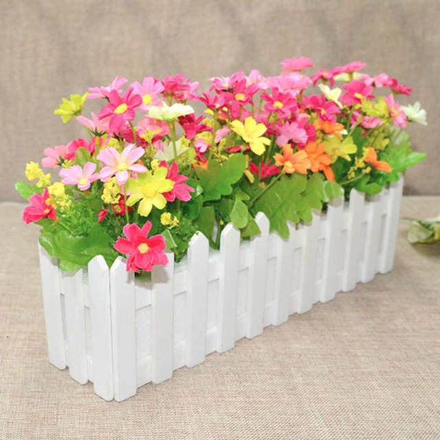 Wedding decor artificial flower with pot simulation flowers garden wedding decor artificial flower with pot simulation flowers garden small plant fake daisy in white picket mightylinksfo