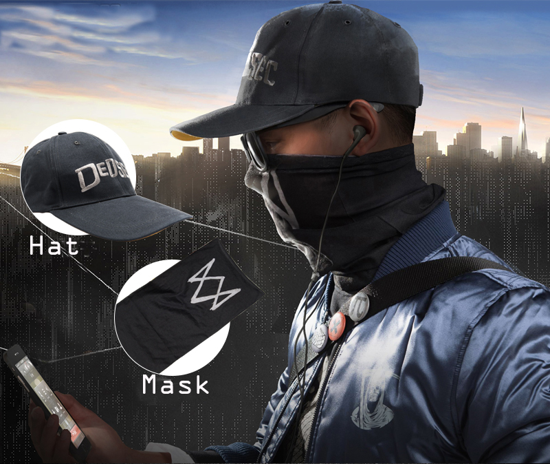 Watch Dogs 2 Aiden Pearce Face MASK Cap Cotton Hat Set Costume Cosplay Mask Hat Mens Fashion 6 Panel Tactique Baseball Caps J10