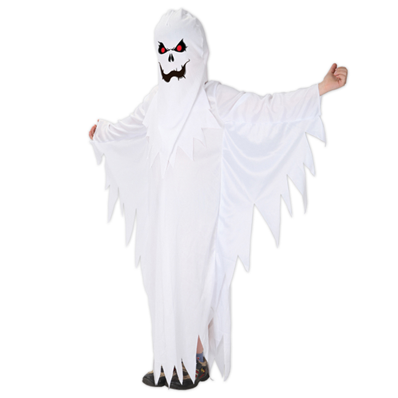 Kids Child Boys Spooky Scary White Ghost Costumes Robe Hood Spirit Halloween Purim Party Carnival Role Play Cosplay Dress Up in Boys Costumes from Novelty Special Use