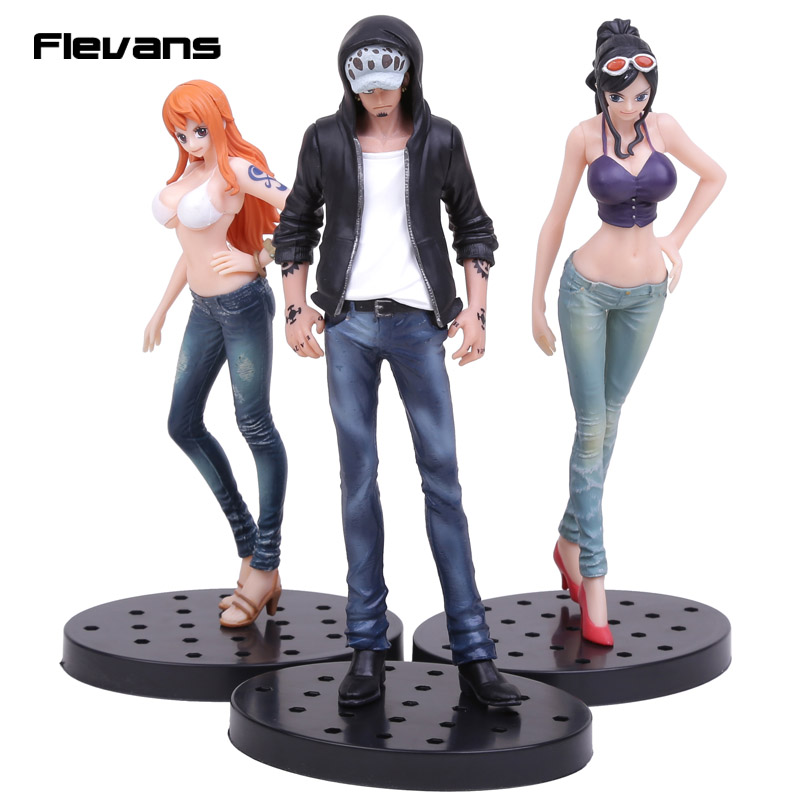 Anime One Piece JEANS FREAK Nami Nico Robin Trafalgar Law PVC Figure Collectible Model Toy 17cm