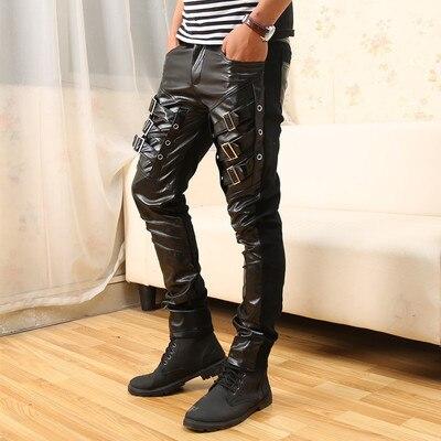 Punk Rock Pants Men Black Leather Buckles Split Joint Rivet Long Pants Men Clothes 2019 Trousers Men Halloween Party Pants 35