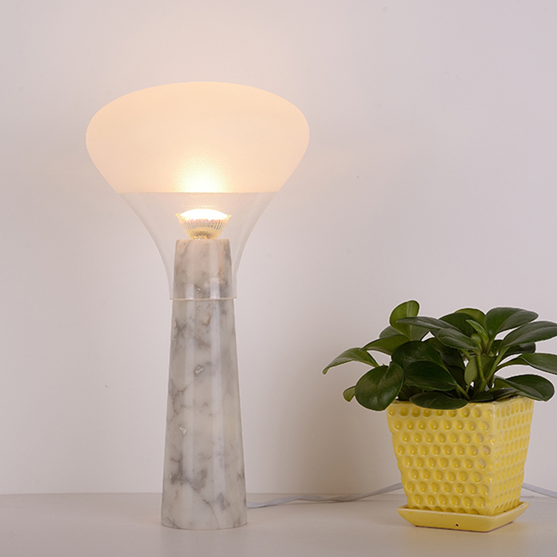 modern white marble glass LED table lamp bedside lamp