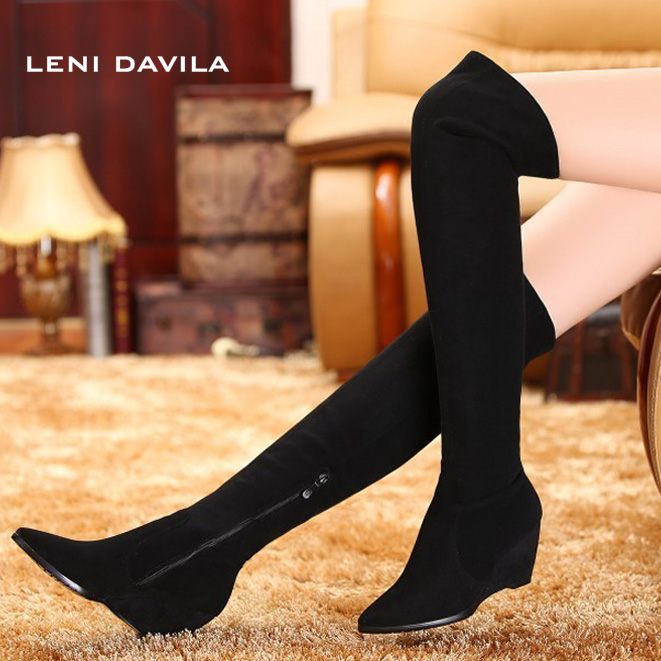 LENI DAVILA 2017 pointed toe Nubuck Genuine Leather over the knee snow boots for women fashion flat wedge heel boots size31-45 fashion slim rivets thick heel pointed toe zip winter snow boots genuine leather stretch fabric over the knee boots women boots