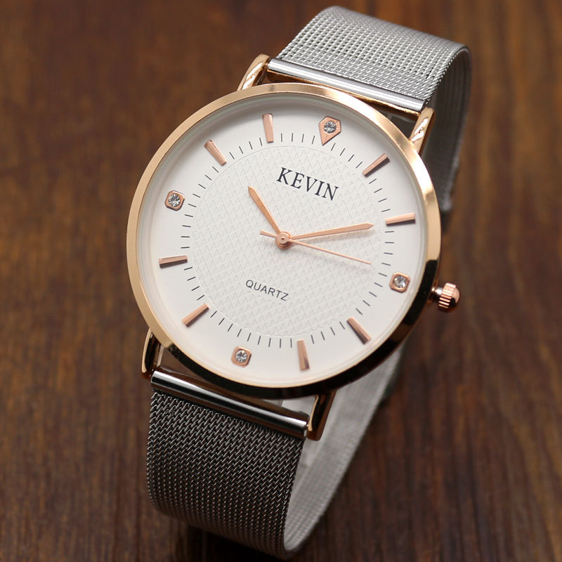 Quartz Watch KEVIN Rose Gold Case Rhinestone White Dial Fashion Quartz Wrist Watch Women Gift W0902