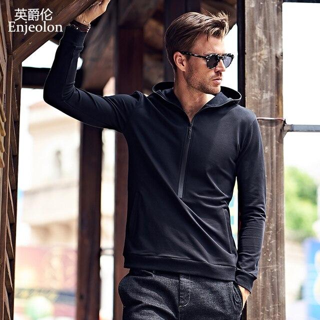 Enjeolon фирменные толстовки Толстовка Для мужчин с капюшоном Черный Повседневная Толстовка для Для мужчин толстовки Solid пуловер Костюмы Большие размеры 3XL WY101