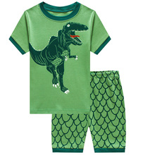 2019 Kids Cotton Pajamas Set Summer Boy Green Dinosaur Pattern Home Casual Wear