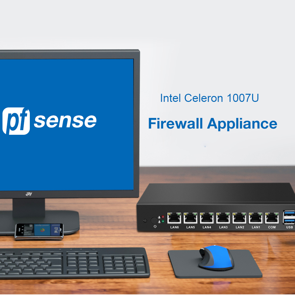 Intel Celeron 1007U Mini PC 6*1000Mbps Intel Gigabit Ethernet Ports