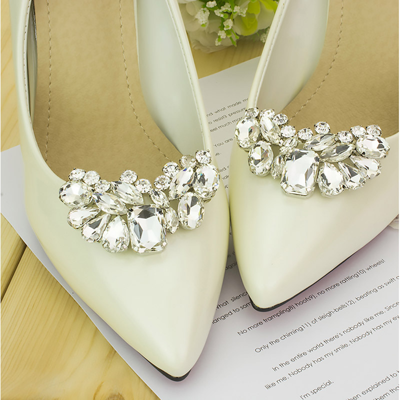 90b71ab58 1Pair Rhinestone Wedding Crystal with Shoe Clips Charms Shoe Decoration  Elegant Shoes Accessories For High Heels-in Shoe Decorations from Shoes on  ...
