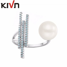 KIVN Fashion Jewelry Open Adjustable Pave CZ Cubic Zirconia Simulated Pearl Rings for Women Mothers Birthday Christmas Gifts