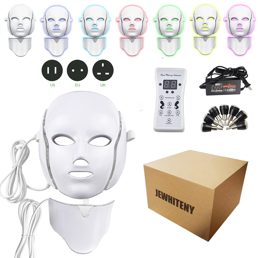 2 Types 7 Colors Electric Led Facial Mask Face Mask Machine Light Therapy Acne Mask Neck Beauty Led Mask Led Photon Therapy(China)