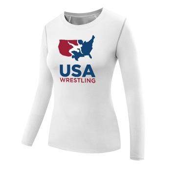 Camisetas largas para mujer USA Wrestling KO Fitness Tees camisetas de secado rápido compresión medias camisetas chica capa Base Tops Culturismo