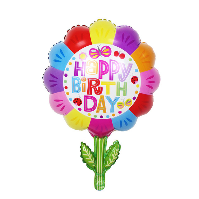 TSZWJ P 002 Free Shipping Flowers Happy Birthday Party Decoration Aluminum Balloons Balloon Wholesale Childrens Toys