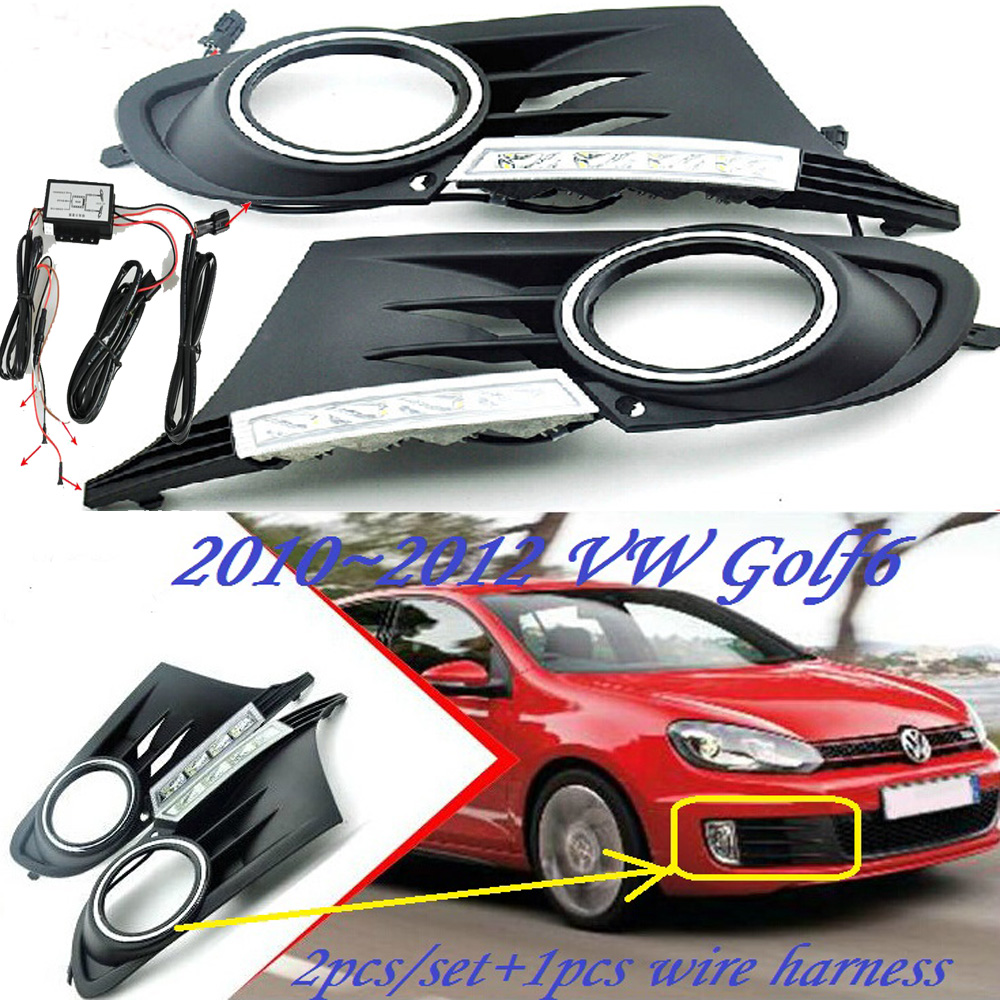 Car-styling,Golf6 daytime light,2011~2013,chrome,LED,Free ship!2pcs,Golf6 fog light,car-covers,Gol,Golf 6,Golf 7 2009 2011 year golf 6 led daytime running light