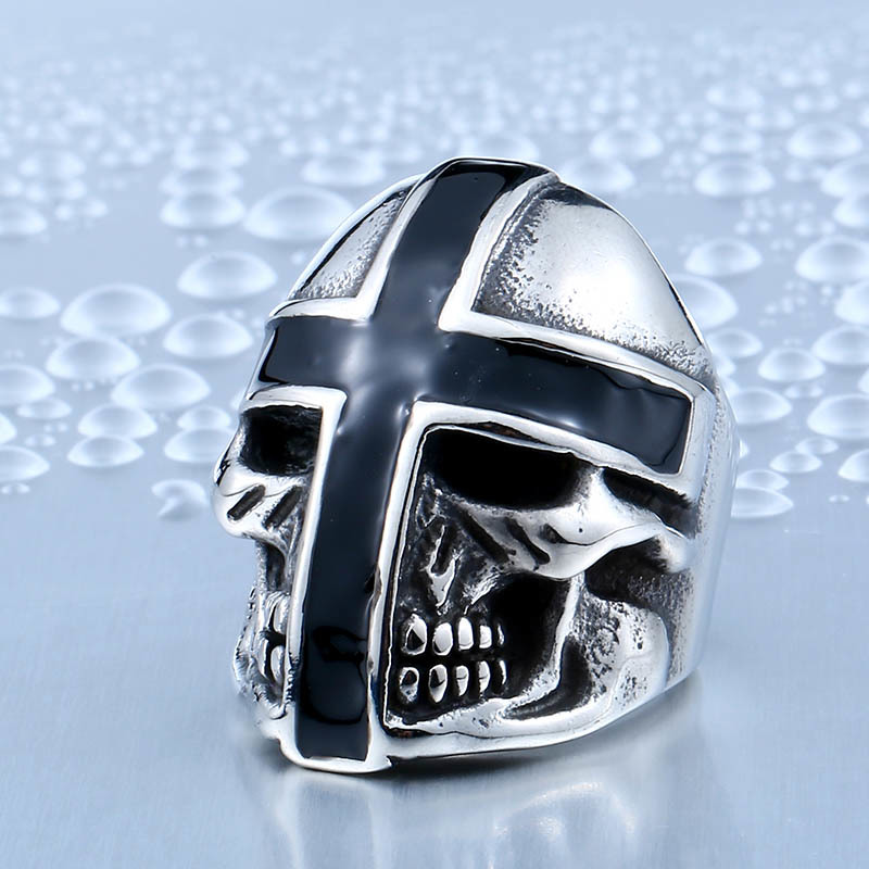 BEIER Brand Design Cool Cross Skull For Man Stainless Steel Personality Biker Punk Man's Ring BR8-361