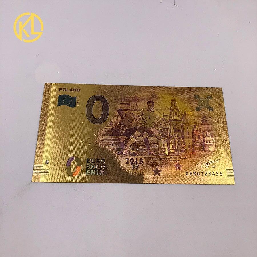 1 шт. unised 1994 Edition Poland Currency designed цветной 24 K позолоченный банкнот 500 PLN для банка подарочные сувениры - Цвет: 0 Euro