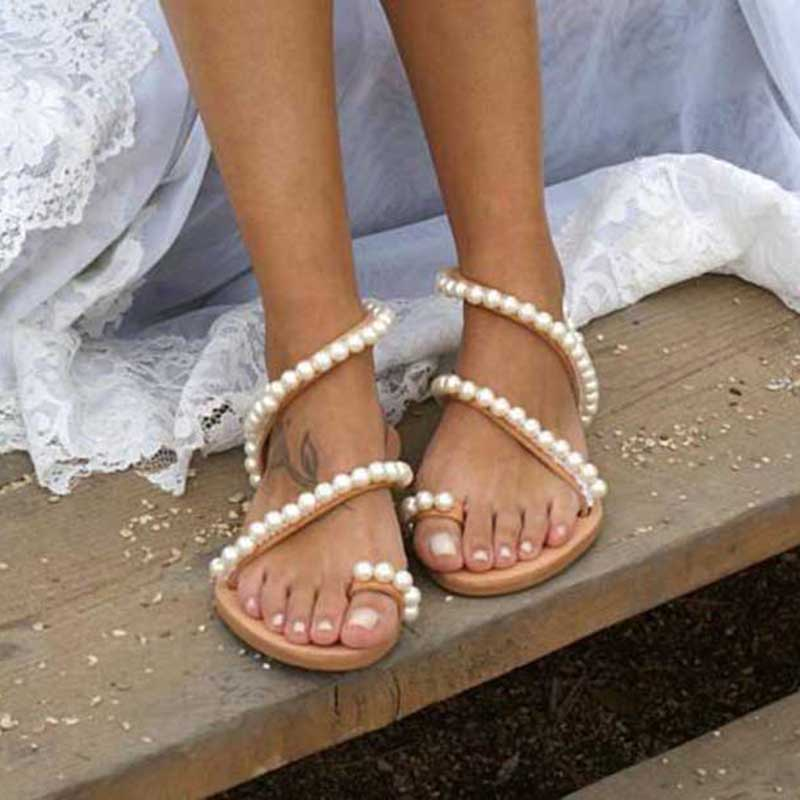 Puimentiua 2019 Women Sandals Summer Shoes Flat Pearl Sandals Comfortable String Bead Slippers Women Casual Sandals Size 35-43Puimentiua 2019 Women Sandals Summer Shoes Flat Pearl Sandals Comfortable String Bead Slippers Women Casual Sandals Size 35-43