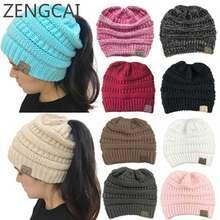 38ebd0bf6b36e CC Ponytail Beanie Winter Hats For Women Crochet Knit Cap Skullies Beanies  Warm Caps Female Knitted Stylish Hat Ladies Fashion