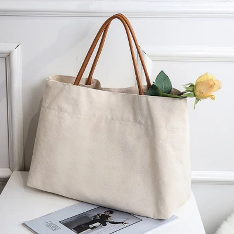 New Tote Shoulder Bag Women Casual Canvas Handbag Schoolbag Environmental Reusable Shopping Bags For Working Travel