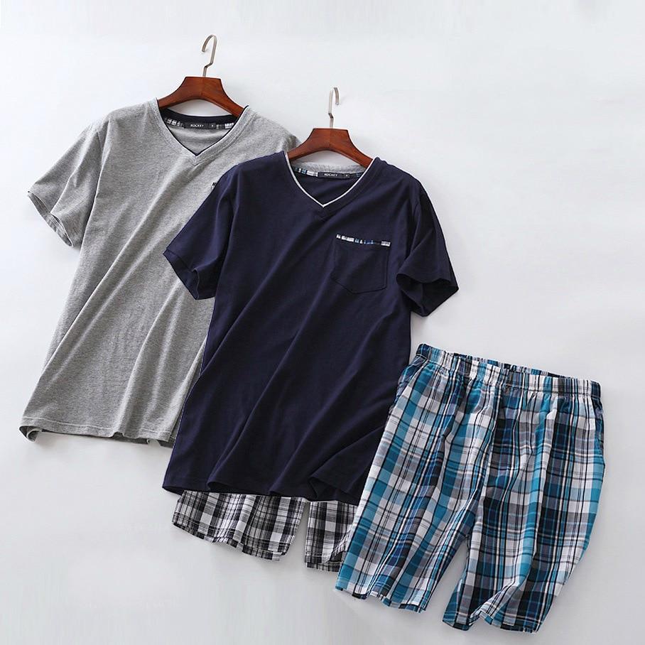 Plus Size Summer Short Sleeved Shorts Pyjamas Suit European Version Men Cotton Pajamas Sets Simple Casual Mens Sleepwear Pijamas