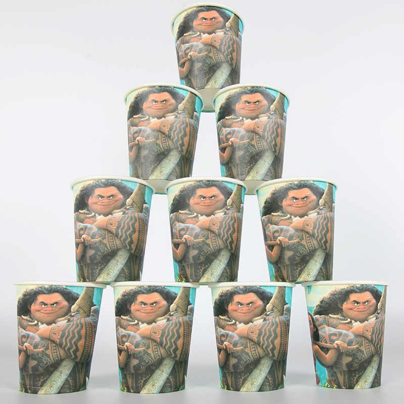 10 pçs disney moana festa suprimentos decoração de festa descartáveis utensílios de mesa um-fora copos de papel copos de copo óculos