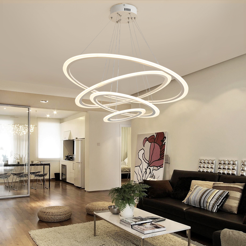 Acrylic Led Ring Chandelier Pendant Lamp Ceiling Light: Acrylic Ring Chandelier Modern LED Ceiling Chandelier