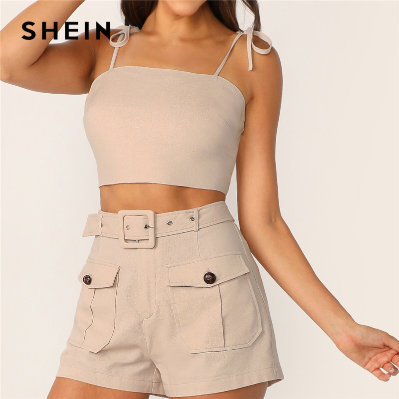 Image 5 - SHEIN Tie Strap Top And Adjustable Belted Shorts Set Sexy Khaki 