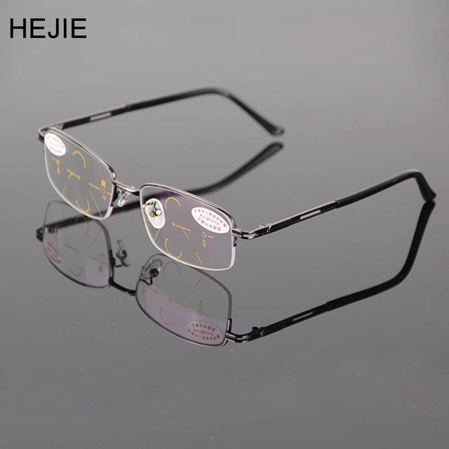 02cb4305377 Classic Men Alloy Multifocal Progressive Reading Glasses Rectangle Half Rim Coating  Lens Comfortabl Diopter+1.0-+4.0 Y1079