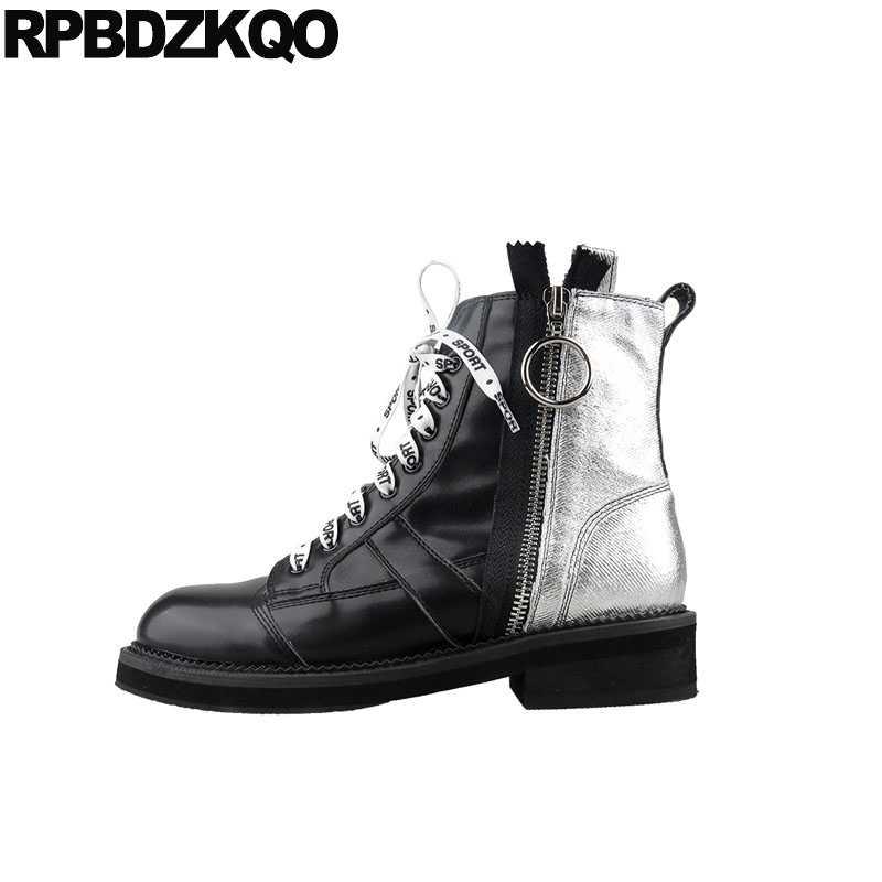 02908115f40 Shoes Jeans Black Blue Denim Boots Waterproof Combat Lace Up Strange Women  Ankle Round Toe Short