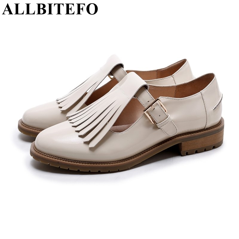 ФОТО ALLBITEFO full genuine leather 2017 new spring thick heel women pumps fashion tassel low-heeled high quality women shoes