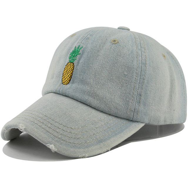491645225b68c 2018 new Pineapple Embroidered Denim washed Baseball Cap Funny Fresh Fruit  Hipster Hat Pineapple Dad Hat