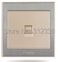 free shipping  Stainless drawbench wall socket computer socket  Computer Outlet network cable socket champagne gold color high quality double computer network socket large panel 86type wall socket simple classic white and gold