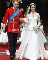 Kate Middleton Wedding Gown Cathedral Royal Train Long Sleeves Satin Long Train Wedding Dress With Appliqued