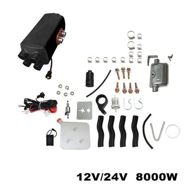 12V 8KW Parking Diesel Air Heater Four-hole Switch with Muffler  For Tank Vent Duct Thermostat Caravan