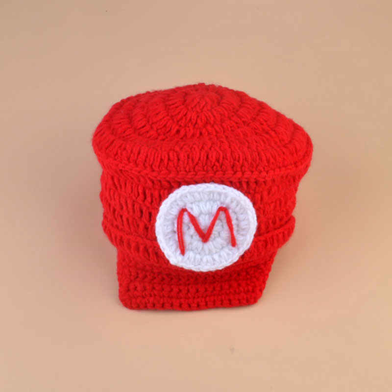 Crochet Newborn Photo Props Super Mario Luigi Inspired Knitted Hat