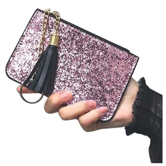 ABDB New Fashion Ladies Girls Women Short Top Quality Vintage Tassel Purses Wallet Key Bags(Pink)