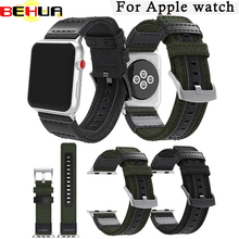 Luxury Canvas Watch Band Wrist Strap For Apple Watch Series 3 Series 2 38mm 42mm High quality Black Army green Sport Watchband цена и фото